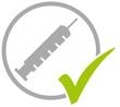 Leinwandbild Motiv Grauer Kreis mit grünem Häkchen und Spritze: Coronavirus Impfung