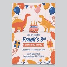 Flat Dinosaur Birthday Invitation Template_4
