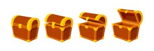 Cartoon Treasure Chest. Wooden Chests, Animation Open Empty Wood Box. Game Icons Or Mysterious Elements, Vintage Opened Closed Recent Vector Design