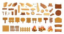 Old Wood Collection. Timber, Logs Pine Tree Elements. Isolated Wooden Signs, Blanks And Street Road Sign. Cartoon Boards Planks, Village Fence And Camp Fire Vector Set