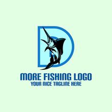 Letter D With Jumping Marlin Logo, Great Position Of Jumping Marlin Fish Vector Illustrations