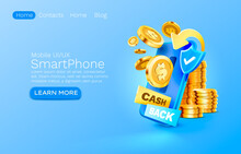 Mobile Cash Back Service, Financial Payment Smartphone Mobile Screen, Technology Mobile Display Light. Vector
