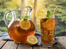 Glass Of Iced Tea With Lemon Slices