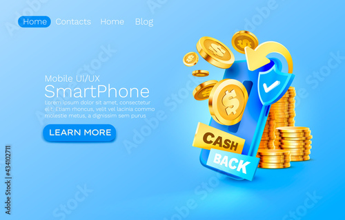 Fotografie, Obraz Mobile cash back service, financial payment Smartphone mobile screen, technology mobile display light