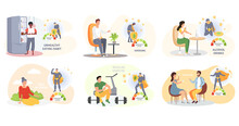 Set Of Illustrations About Healthy Lifestyle. Sport, Yoga, Exercise, Gymnastic, Proper Nutrition, Healthy Food, Vaccine, Treatment, Schedule. Changes In Immunity Levels Due To Habits Of People