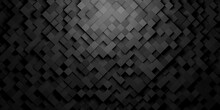 Black Squares Or Cubes Shifted Rotated Mosaic Abstract Background Pattern Geometrical Design With Ligth From Top