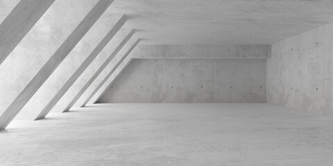 Abstract empty, modern concrete room with soft light from left with diagonal pillars and rough floor - industrial interior background template