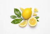 Fototapeta Kawa jest smaczna - Flat lay composition with fresh juicy lemons and green leaves on white background