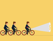 Businessman Team Riding A Bicycle With Flashlight And Searching Dollar Sign. Concept Currency, Financial, Successful