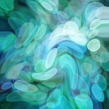 Abstract Background With Blue And Green Deformed Bokeh