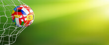 Green Soccer Background With Ball In Goal
