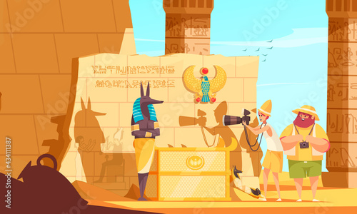 Canvastavla Egypt Travel Cartoon Composition With Burial Chamber Visitors Making Death God S