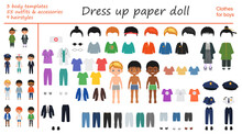 Dress Up Paper Doll. Big Set Of Professional, National And Casual Clothes For Boys. Vector Illustration