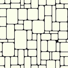 Stone Endless Structure. Rectangles With Rounded Edges Monochrome Background. Poster Of Wall Construction. Vector Seamless Pattern.