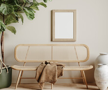 Mock Up Frame In Cozy Beige Home Interior Background, 3d Render