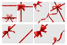 Transparent Cards. Banners With Realistic Red Bows And Ribbon. Isolated Empty Gift Flyers Or Voucher, Social Media Stories Vector Templates