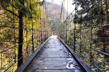 山の中にかかる木製の吊橋
