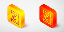 Isometric Line Online Play Video Icon Isolated On Grey Background. Film Strip With Play Sign. Yellow And Orange Square Button. Vector