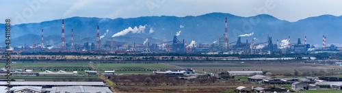 Fotografija Panorama view of reclaimed land and industrial area (Kasaoka City, Okayama Prefe