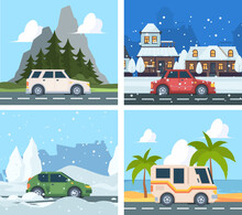 City Cars. Urban Landscape With Various Vehicles Transport Outdoor Happy Tourism In Mountain Driving Travellers Garish Vector Cartoon Background