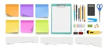 Stationery Collection. Realistic Pen Pencil, Notes Sheets. Isolated Scissors, Paper Clips And Ripped Edge Pieces Vector Set