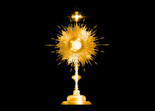Monstrance Gold Ostensorium Used In Roman Catholic, Old Catholic, Anglican Ceremony Traditions. Benediction Of The Blessed Sacrament Is Used To Displayed To Eucharistic Host. Vector Isolated On Black