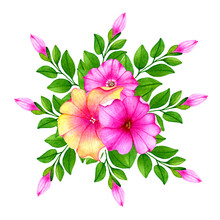 Beautiful Floral Bouquet With Cute Petunias Flowers.buds And Leaves.Watercolor Hand Drawn Illustration.Isolated On White Background.