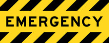 Yellow And Black Color With Line Striped Label Banner With Word Emergency