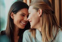 Diverse Friends Girls Lesbian Couple Hugging. Stylish Cool Generation Z Women Dating In Love Enjoy Romantic Relationships