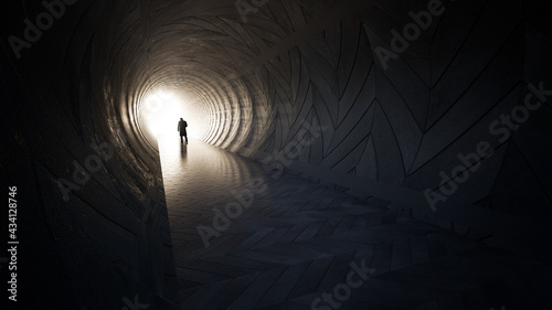 Fotografija Concept or conceptual dark tunnel with a bright light at the end or exit as meta