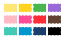 Scalloped Rectangle Shape Multicolored. Clipart Image Isolated On White Background