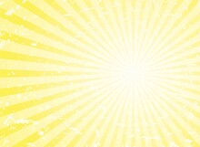 Sunlight Retro Grunge Background. Yellow Color Burst Background. Vector Illustration.