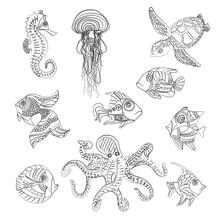 Sea Life Fish Octopus Turtle Illustration Set