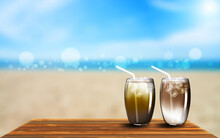 Vector Illustration. Refreshing Drinks On The Wooden Table With Summer Beach Background.
