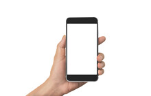 Hand Holding Smartphone Device Touching Screen