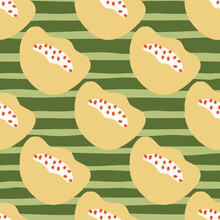 Beige Bloom Abstract Poppy Flowers Seamless Pattern In Doodle Style. Green Striped Background.