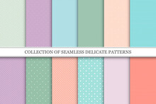 Collection Of Vector Trendy Seamless Patterns With Dots And Stripes. Colorful Repeatable Fashion Backgrounds
