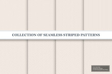 Collection Of Delicate Seamless Striped Patterns. Fabric Beige Textures. You Can Find Repeatable Backgrounds In Swatches Panel
