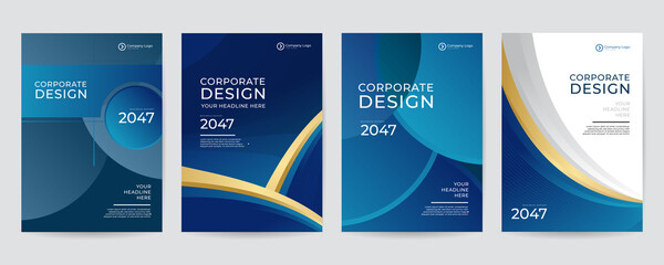 Modern blue  gold and grey design template for poster flyer brochure cover. Graphic design layout with triangle graphic elements and space for photo background