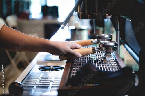 Fotografering espresso coffee machine in cafe, professional barista making a hot drink caffein