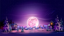 Night Beautiful Landscape With Winter City, Trees, Mountain And Moon. Shine With Purple Moon, Snow And Violet Sky. Landscape Background For Your Arts