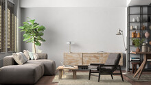 Mockup Of Blank White Wall In Interior Of Living Room.