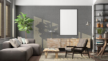 Vertical Blank Poster Mockup On Concrete Wall In Interior Of Living Room.