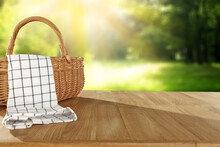 Wooden Picnic Basket Of Free Space And Summer Landscape.