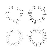 Star Burst Hand Drawn Doodles. Sunburst Graphic Design Set. Handmade Radial Starburst Illustrations.
