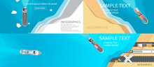 Different Types Of Ships, In The Sea Or Ocean, And Land Transport, Infographics.