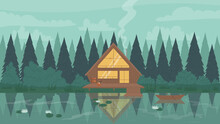 Fisherman Modern Wooden Stilt House In Forest Vector Illustration. Cartoon Mountain Landscape, Reflection Of Riverside Cabin Cottage With Window Lighting In Calm Waters Of Lake Or River Background