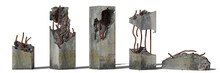 Set Of Damaged Concrete Pillars Isolated With Shadow On White Background