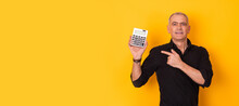 Adult Businessman With Calculator Isolated On Background With Space