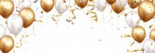 Celebration Banner With Gold Confetti Balloons Isolated_2